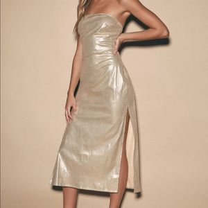 New Lulus Piece of Cake gold metallic dress